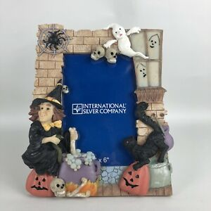 International Silver Co Halloween Picture Frame 4x6 Photo Size Witch Ghost Resin