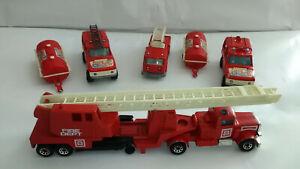 Lot: 1 Matchbox camion Pompier, 1/80, 1984; 3 Majorette 1/100, n°207, 1/60 n°246