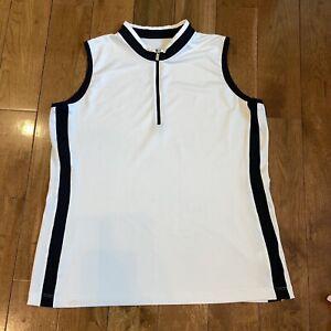 Womens Tail 1/2 Zip Sleeveless Polo Shirt White Black Sz XL