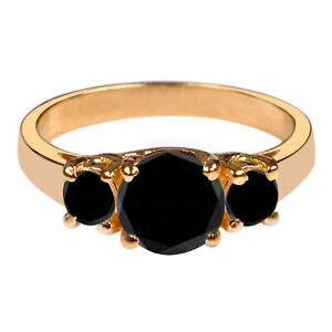 3.00Ct Round Cut 100% Natural Earthmined Black Diamond Women's Ring In 14KT Gold