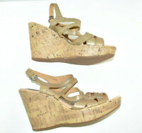 B.O.C. Born Concepts Cork Wedge Sandals Women's 9 40.5 Gold Strappy Shoes