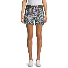 St. John's Bay Women's Active Pull On Shorts Size X-Large Jules Allover Green