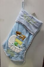 BLUE BABY'S FIRST CHRISTMAS STOCKING Carriage Pram Boys Infant Holiday Decor NEW