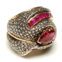 Natural Ruby 2.27ct Pave Diamond Tourmaline Silver VINTAGE Ring 14k Gold Jewelry