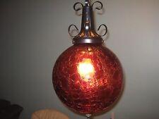 VTG MID CENTURY SPANISH REVIVAL HANGING LIGHT SWAG LAMP RED CRACKLE GLASS GLOBE