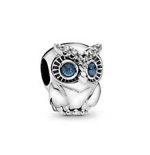 NEW OWL European Silver Pendant CZ Charm Crystal Beads Fit Necklace Bracelet ~~