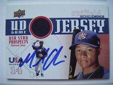 MICHAEL CHOICE signed RANGERS A's 2009 Upper Deck USA Jersey baseball card AUTO