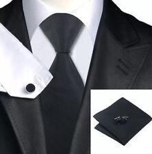 Corbata Seda Tejida para hombre Rayas Negro + Pañuelo & cuflinks Juego Set 175