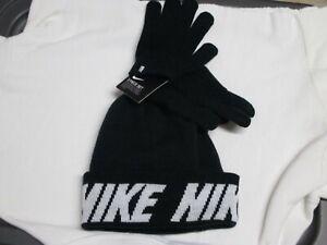 NIKE YOUTH/BOYS WINTER HAT & GLOVES SET NWT BLACK W/WHITE LOGO & LETTERS STYLISH