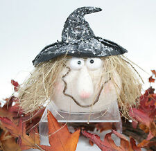 """Halloween Freestanding Witch head with a black glitter crinkle hat New 5.5"""" Tall"""