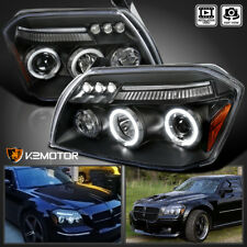 2005-2007 Dodge Magnum Black LED Halo Projector Headlights Pair