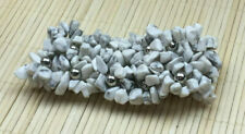 Fashion Bracelet White Magnesite Gemstone Chip Silvertone Wide Stretch