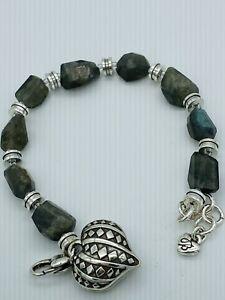 Brighton  Free Spirit Heart Silver Stone Nugget Charm Bracelet  Adjustable