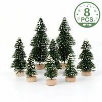 Mini Christmas Tree Cedar Ornaments Decor Party Miniature Desktop Trees 8Pcs