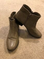 UNISA Ungale Brown Taupe leather Ankle Zip Boots Block Heels Shoe Womens Sz 7