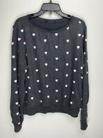 Wildfox Couture Womens Pink Hearts Pullover Sweater Dark Grey