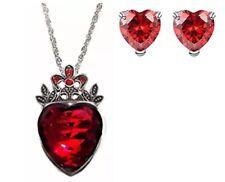 Disney Descendants Princess Evie Red Heart Crown Pendant Necklace, Earring Set