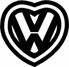 V Dub Vee Dub Love Luv Heart Logo Sticker Decal Graphic Vinyl Label V2 Black
