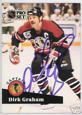 DIRK GRAHAM 1992 PRO SET CHICAGO BLACKHAWKS  AUTOGRAPHED HOCKEY CARD JSA