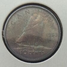 1963 Canada 10 Ten Cents Dime Deep Blue Toning Canadian Circulated Coin F679