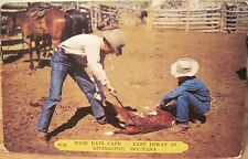Montana Postcard Good Eats Cafe Cowboys Branding Livingston Mont Us Hwy 10 1955