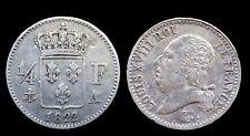 1/4 Franc 1822A (Paris) Louis XVIII Côte TTB 120€ SUP 300€ Argent/Silver