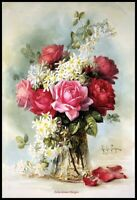 Roses in a Glass Vase 2 - Chart Counted Cross Stitch Pattern Needlework Xstitch