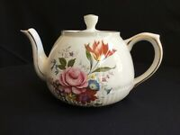 Vintage Teapot Ellgreave (Wood & Sons) English Ironstone Flowers w/Gold Trim