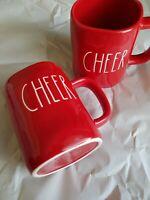 Rae Dunn Christmas Red CHEER Mugs 2019 Set New