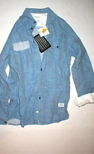 New Mens NWT Designer Norse Projects Eske Linen Shirt S Small Blue Europe Long