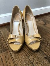 Christian Dior Peep Toe Bow Accent Patent Nude Pumps Size 38