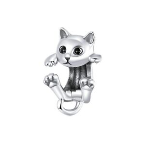 SOLID Sterling Silver Sweet Climbing Cat Kitten Charm - by YOUnique Designs