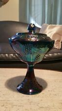 Vintage INDIANA Inridescent Blue CARNIVAL Glass Pedestal Lidded Bowl