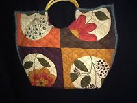 "Moda Fabric Handmade Quilted Essence Bag Tote 19"" x 15"" Bamboo Handles"