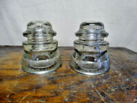 2 Vintage Armstrong`s DP-1 Clear Glass Electrical Insulators #91-48 & #20-52