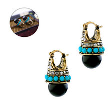 1Pair Black Round Vintage Palace Crystal Jewelry Fashion Stud Earrings For Women