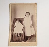 Antique Photo Cabinet Card Children Vintage Kids Photograph Big Sister