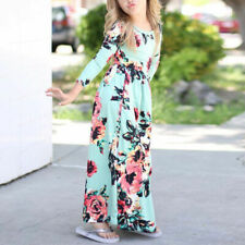 Kids Girls Toddler Flower Long Sleeve Dress Party Holiday Beach Clothes Age 2-9Y