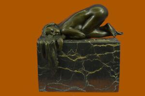 Art Deco Hot Cast by Lost Wax Method Nude Female Solid Bronze Sculpture Artwork