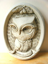 Carruth Great Horn Rimmed Owl Plaque Anthropomorphic Bird Garden Decor Wildlife