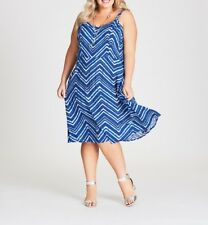 Plus Size Autograph Blue Shirred  Viscose-poly Midi Dress Size 16