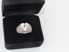Solitare heart shape diamond ring, TCW 12 made in silver,central stone 8 K