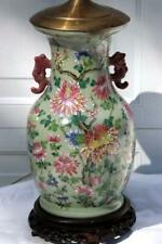 Antique Chinese Celadon Vase Lamp w/ flowers and Handles.