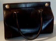 Sac sacoche en cuir noir marquée Bag de big H.R. Fourcade sellier