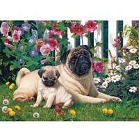 Pugs In The Garden Diamond Painting Full Drill 5D DIY Embroidery Decor 45*30cm