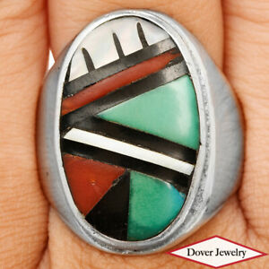 Pearl Turquoise Coral Black Onyx Inlay Sterling Silver Ring 12.5 Gr NR
