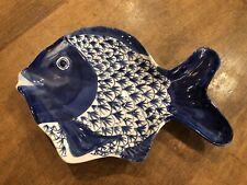 "Vintage Bella Casa by GANZ Blue White Fish Plate 10.75"" Platter Dish"