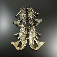 32120 Antiqued Bronze Tone Alloy Mermaid Hold Hand Fish Girl Pendant Charms 3PCS
