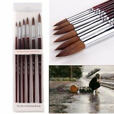 6 Pcs/Set Sable Hair Round Artist Paints Brush Craft For Watercolor Oil Acrylic