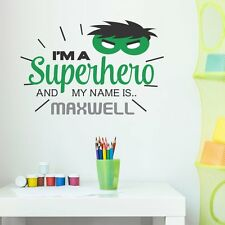 PERSONALISED SUPERHERO HULK CHILDREN'S KIDS BEDROOM WALL STICKER VINYL MURAL